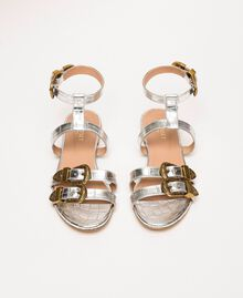 "Flache Sandale aus Leder mit Krokoprägung Print Kroko ""Titan""-Grau Frau 201TCP054-04"