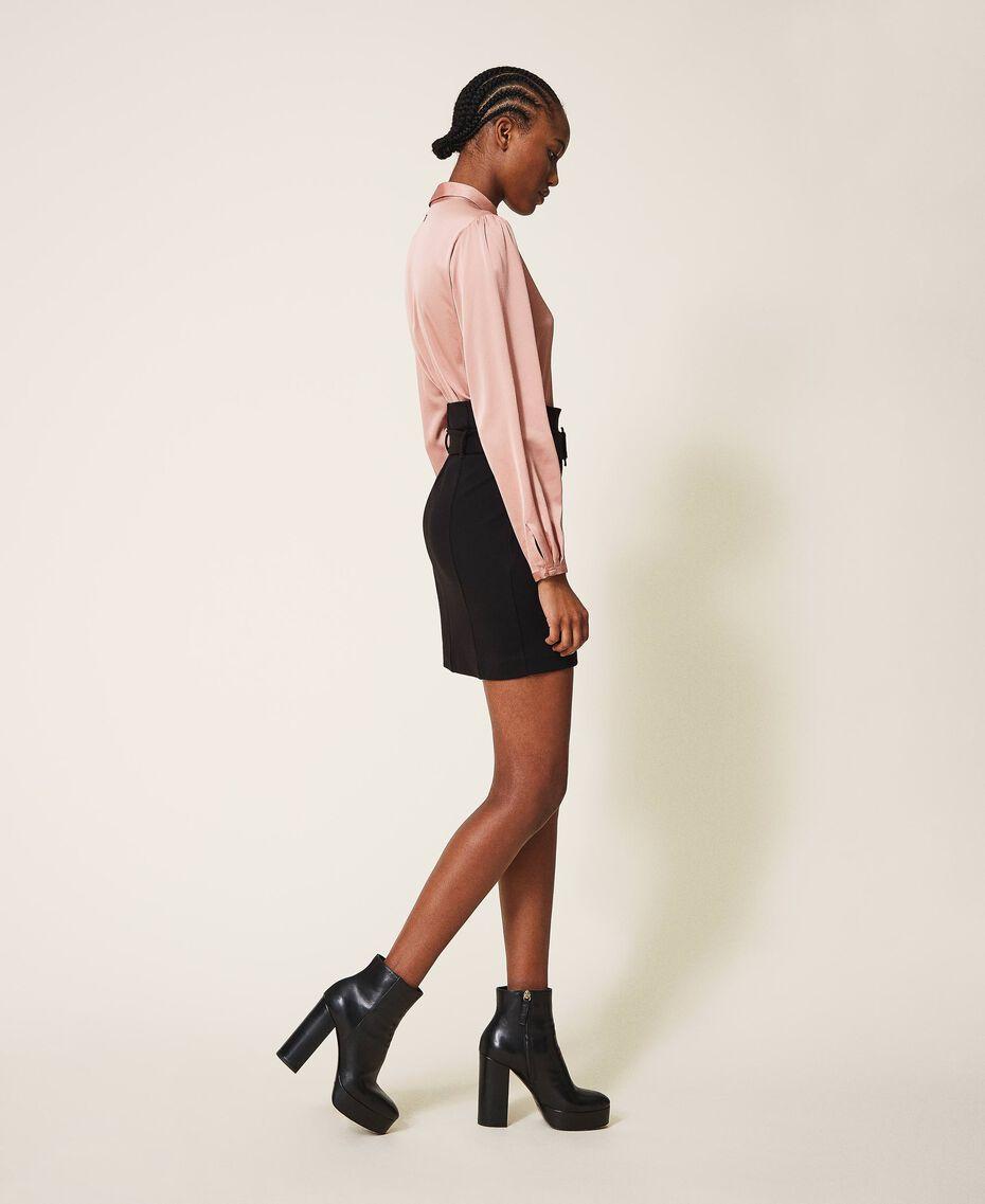"""Robe bicolore avec jupe fourreau Bicolore Noir / Rose """"Vintage"""" Femme 202ST2027-02"""