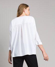 Рубашка из поплина с вышивкой под горошек Сливочный White женщина 191MP2194-03