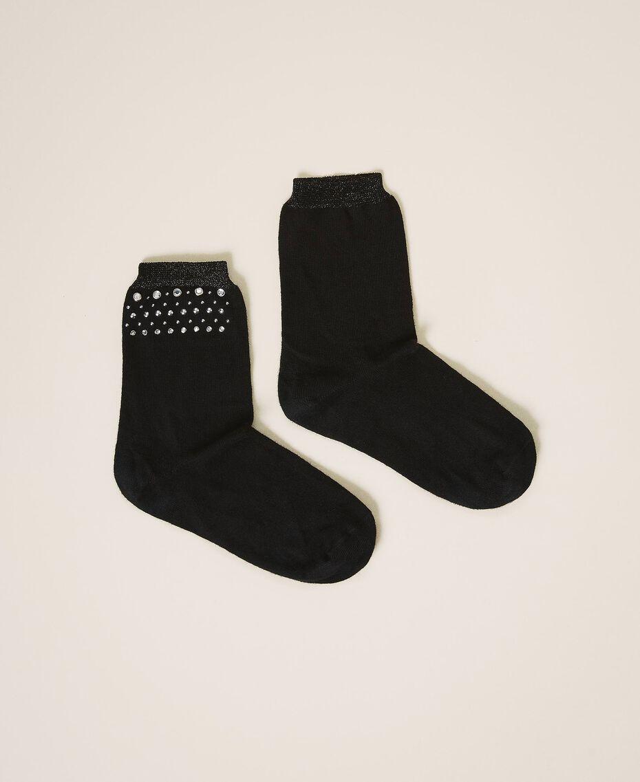 Носки с заклепками и шатонами Черный женщина 202TA4369-02