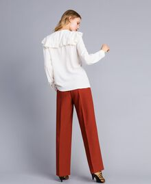 Silk blend shirt with ruches White Snow Woman TA823E-03