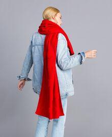 Écharpe avec cœurs en point éponge Rouge Coquelicot Femme VA8P2U-0S