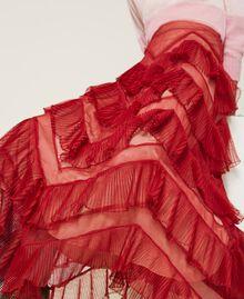 Long tulle skirt with pleated flounces Dark Raspberry Woman 212TP2204-05