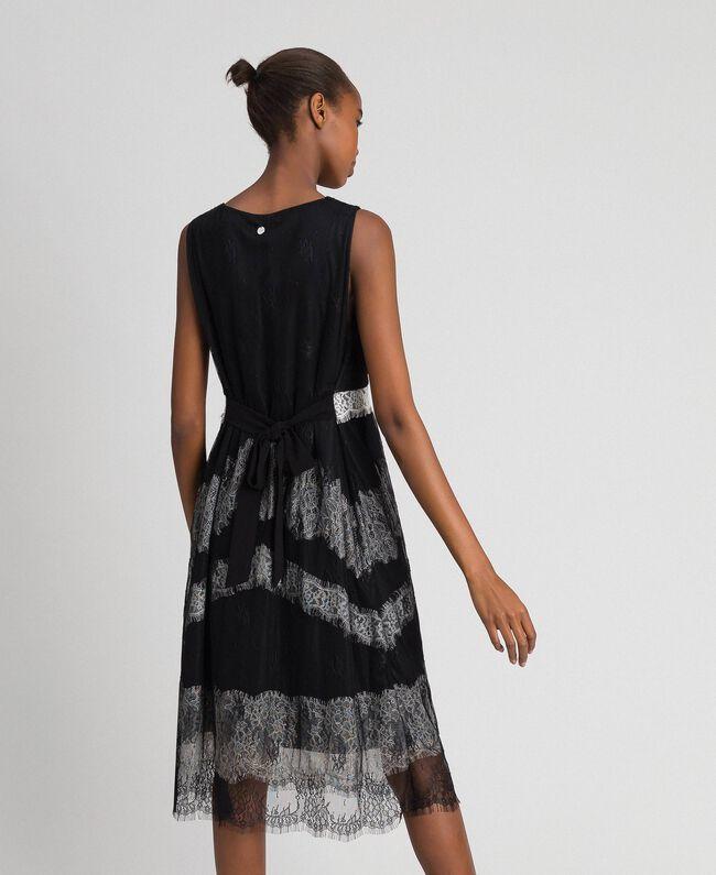 Платье из кружева шантильи с контрастными вставками Черный / Бело-Кремовый женщина 192ST2114-03