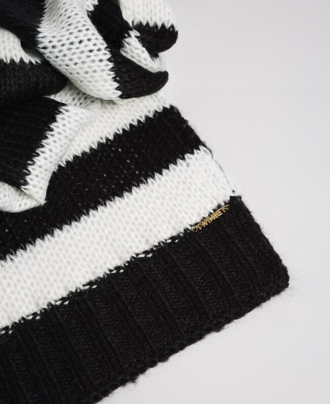 Two-tone striped mohair scarf Child, Black | TWINSET Milano