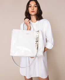 Sac cabas en cuir avec logo Blanc Neige Femme 201TA7090-0S