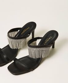 Leather sandals with rhinestone fringes Black Woman 211TCT030-02