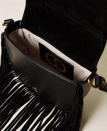 Leather shoulder bag with fringes Black Woman 212TB7120-05