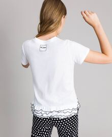 T-shirt with print and flounce White Cream Woman 191MP206D-03