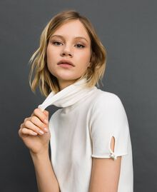 Short sleeve turtleneck with pearl buttons Papyrus White Woman 192TP3242-01