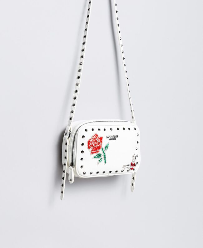 "Shoulder bag with patchwork and studs ""Ice"" White Woman VA8PGC-01"