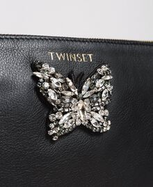 Leather clutch bag with butterfly Nougat Beige Woman 191TA7290-04