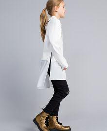 Maxi Milan stitch and georgette sweatshirt Off White Child GA82FU-02