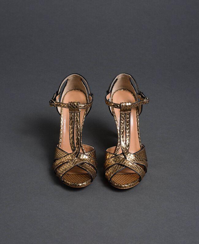 Sandali in pelle laminata animalier Stampa Pitone Oro Donna 192TCT038-04