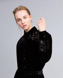 Camicia in velluto con ricami Nero Donna PA823H-04