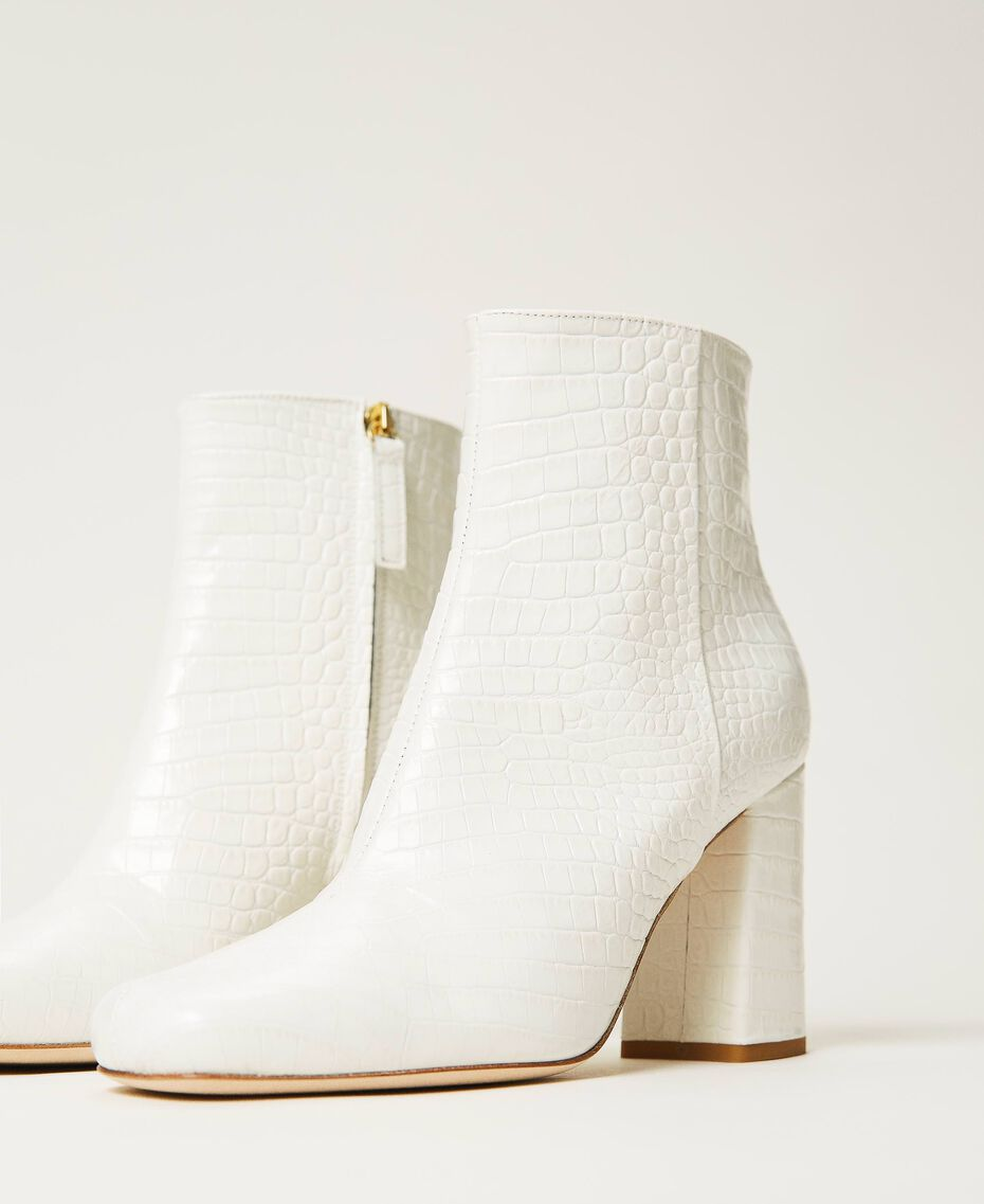 """Leather ankle boots with crocodile print """"Snow"""" White Crocodile Print Woman 202TCP074-01"""