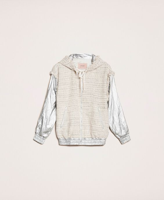 Laminated bomber jacket with bouclé fabric