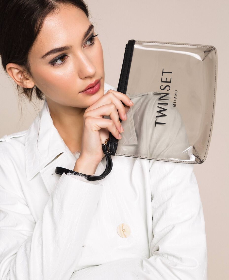 PVC pochette with logo Grey Woman 201TO7280-0S