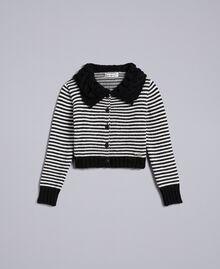 Cardigan en laine mélangée rayée Bicolore Noir / Blanc Cassé Enfant GA83KA-01