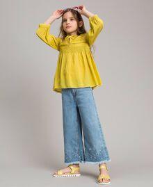 """Voile-Bluse aus Baumwolle mit Stickerei """"Bamboo"""" Gelb Kind 191GJ2350-0S"""