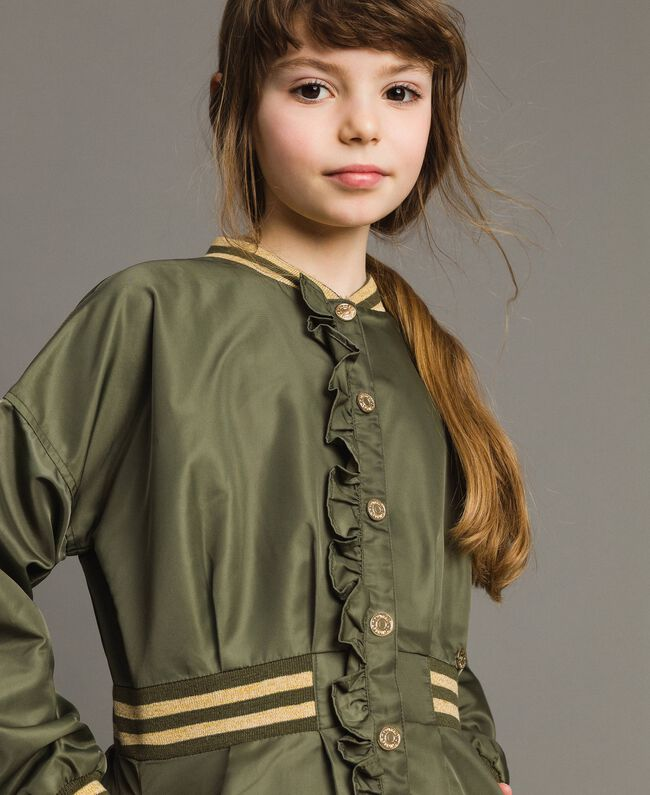 Parka en nylon avec ruchés Vert Toundra Enfant 191GJ2150-04