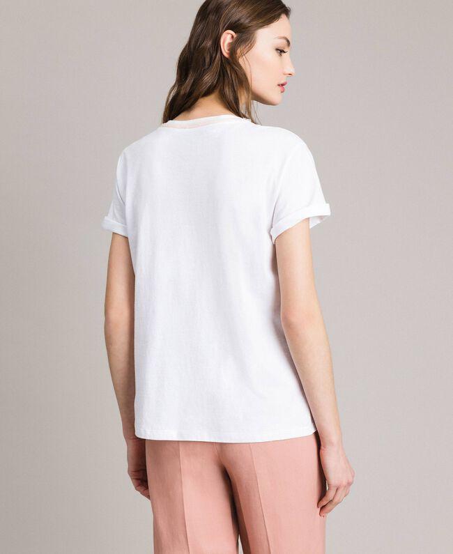 Flower and rhinestones T-shirt White Woman 191TP2602-03