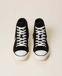 Leather trainers with fringes Black Woman 212TCP100-06