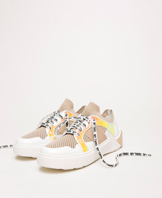 Mesh trainers with faux leather detail