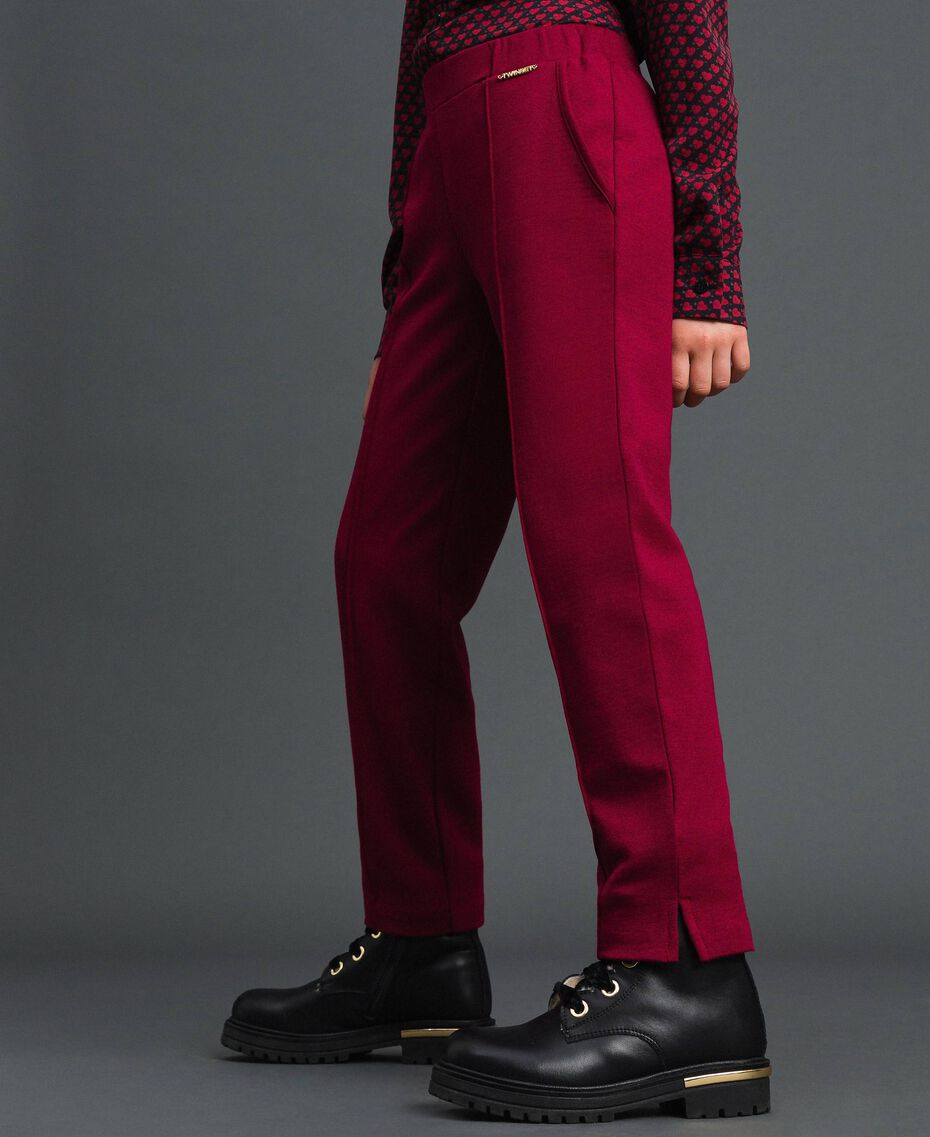 Slim fit trousers with elastic Ruby Wine Red Child 192GJ2250-05