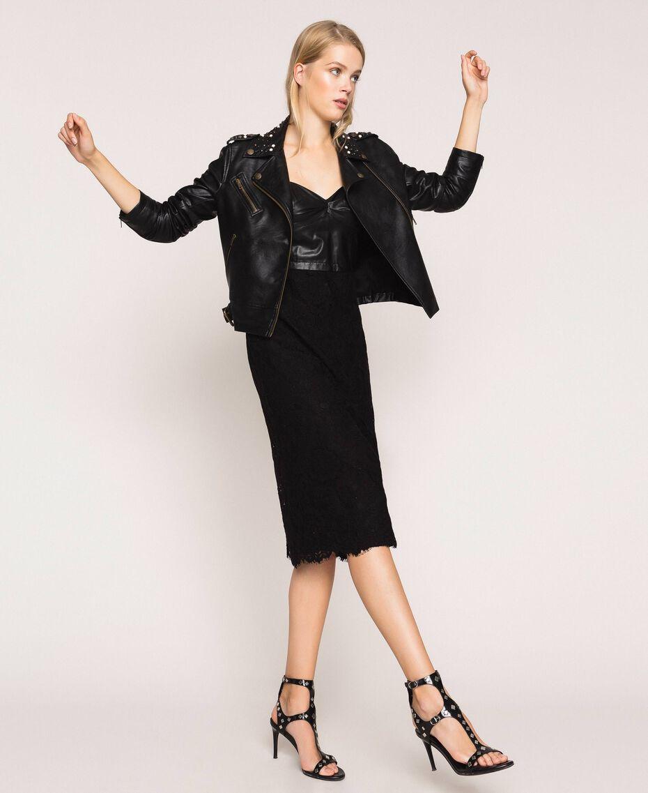 Байкерская куртка из искусственной кожи с заклепками и жемчугом Черный женщина 201TP241A-0T