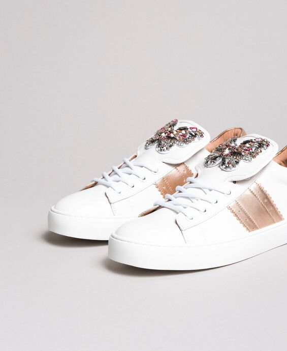 Leather sneakers with butterfly patches