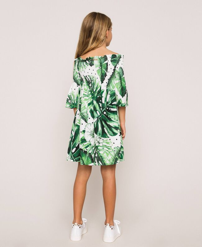 Tropical print dress Green Polka Dot Tropical Print Child 201GJ2302-04