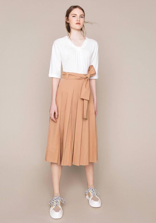 Midi dress with poplin skirt