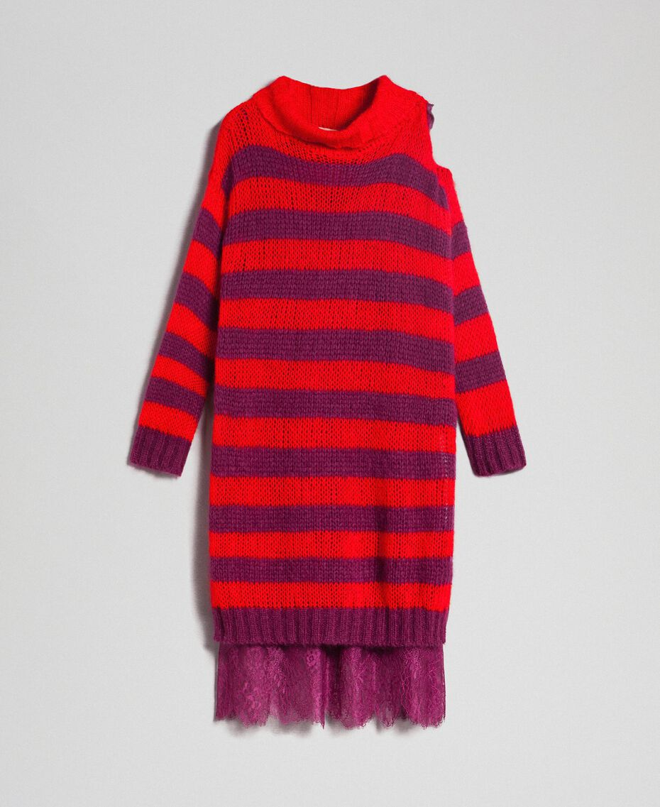 Striped mohair dress with slip Beet Red / Pomegranate Stripe Woman 192TP3270-0S