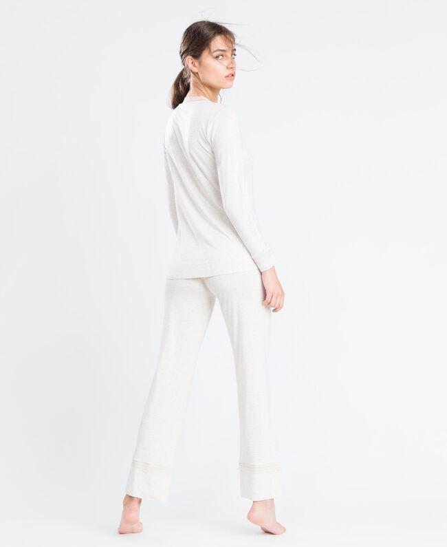 Langer Pyjama aus Viskosejersey mit Stretchanteil Elfenbeinmelange Frau LA8BGG-03