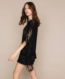 Maxi pull en dentelle filet avec franges Noir Femme 201TT3011-02