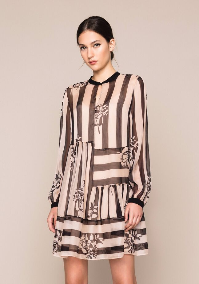 Creponne dress with stripes and flower print