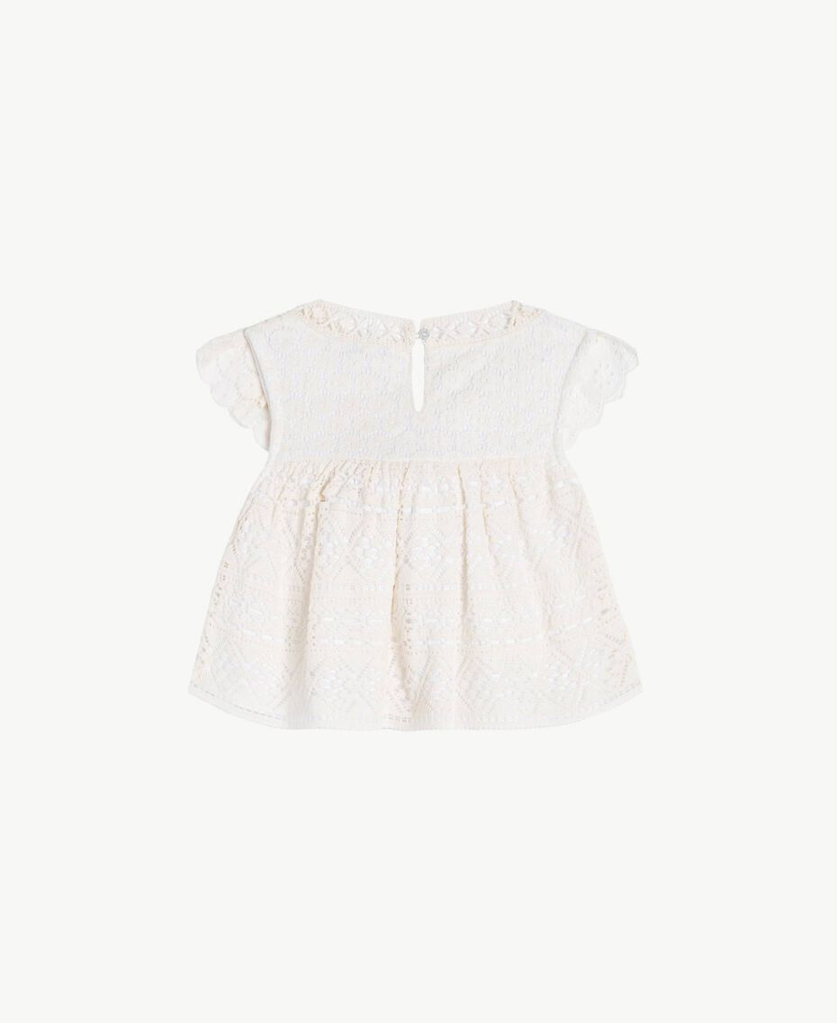 Top dentelle Bicolore Blanc Papyrus / Chantilly Enfant FS82X1-02