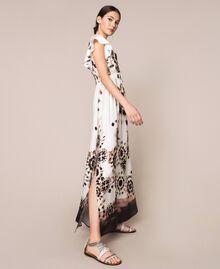 Printed satin long dress Black Unevenly Dyed Print Woman 201LB2GMM-03