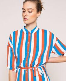"Long striped shirt dress Multicolour ""Bay"" Blue / ""Choco"" Brown / Optical White Woman 201LM2FBB-04"