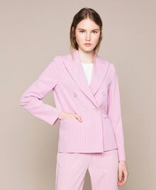 "Double breasted pin stripe blazer ""Candy"" Pink Pin Stripe Jacquard Woman 201ST2080-03"