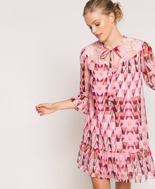 """Printed georgette dress with lace """"Candy"""" Pink Geometric Print Woman 201ST2180-05"""