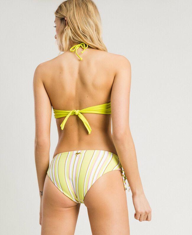 """Bandeau-Bikinitop mit Paillettenstreifen Streifen Multicolour """"Bronze"""" Braun / """"Lemon Juice"""" Gelb Frau 191LBMAUU-03"""
