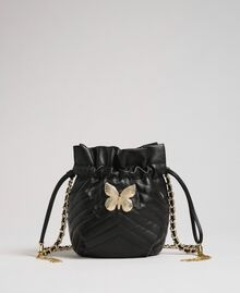 Small quilted leather bucket bag Black Woman 192TA7105-02