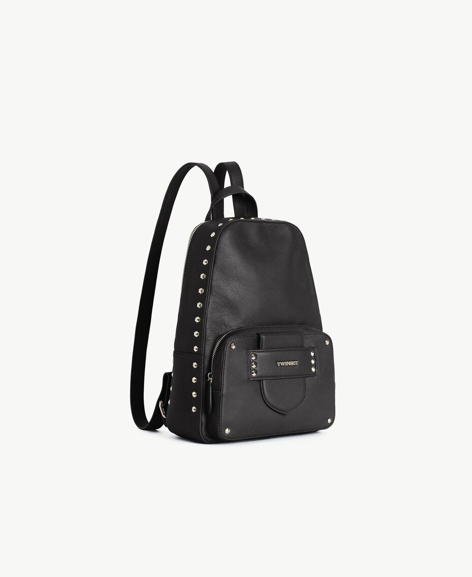 TWINSET Studded backpack Black Woman OS8TBA-02