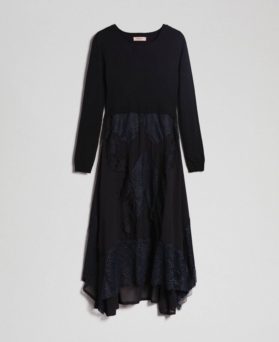 Knit and georgette long dress with lace Black Woman 192TT3080-0S