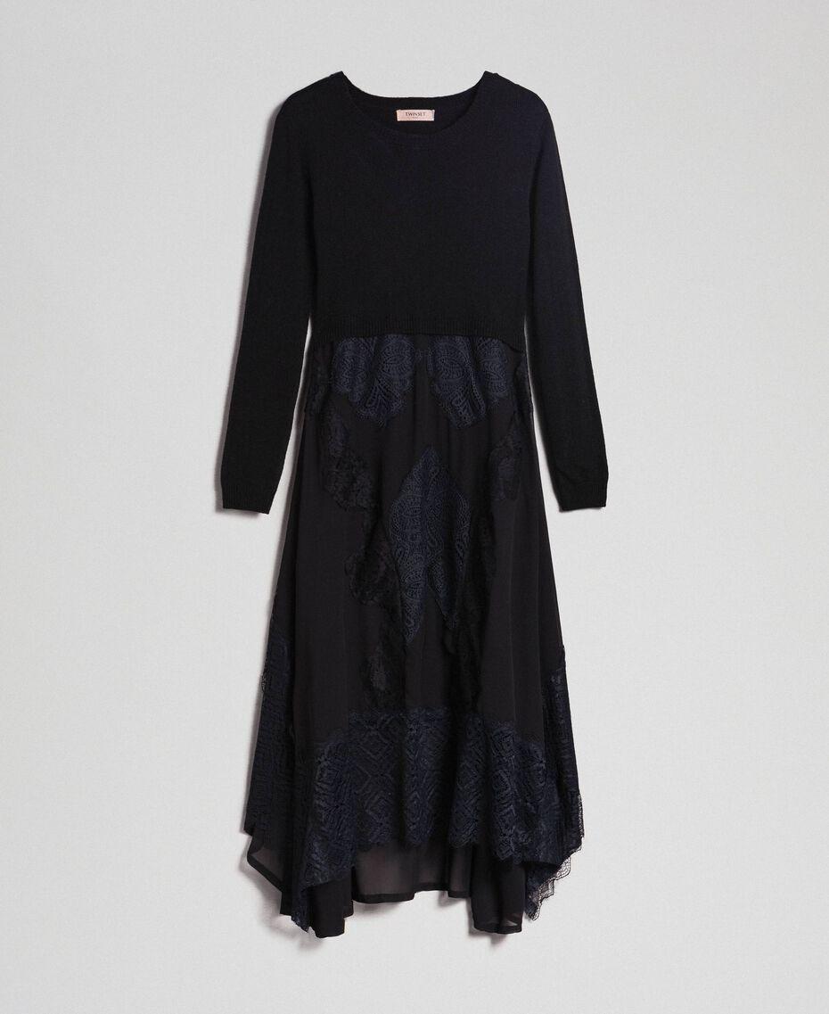 Robe longue en maille et crêpe georgette avec dentelle Noir Femme 192TT3080-0S