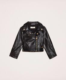 Байкерская куртка из искусственной кожи Черный Pебенок 201GB2110-01