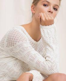 Robe en maille façon dentelle Blanc Neige Femme 201TP3210-05