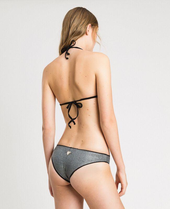 Glitter Brazilian bikini bottom Black Woman 191LBM377-03